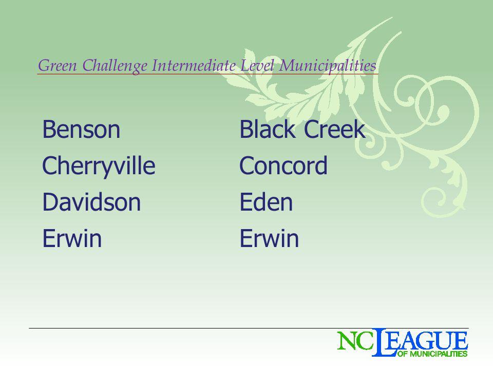 Green Challenge Intermediate Level Municipalities BensonBlack Creek CherryvilleConcord DavidsonEdenErwin