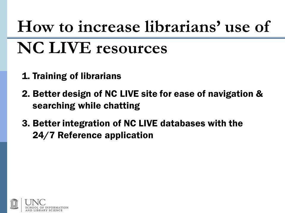 How to increase librarians' use of NC LIVE resources 1.Training of librarians 2.Better design of NC LIVE site for ease of navigation & searching while