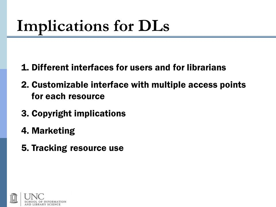 Implications for DLs 1.Different interfaces for users and for librarians 2.Customizable interface with multiple access points for each resource 3.Copy
