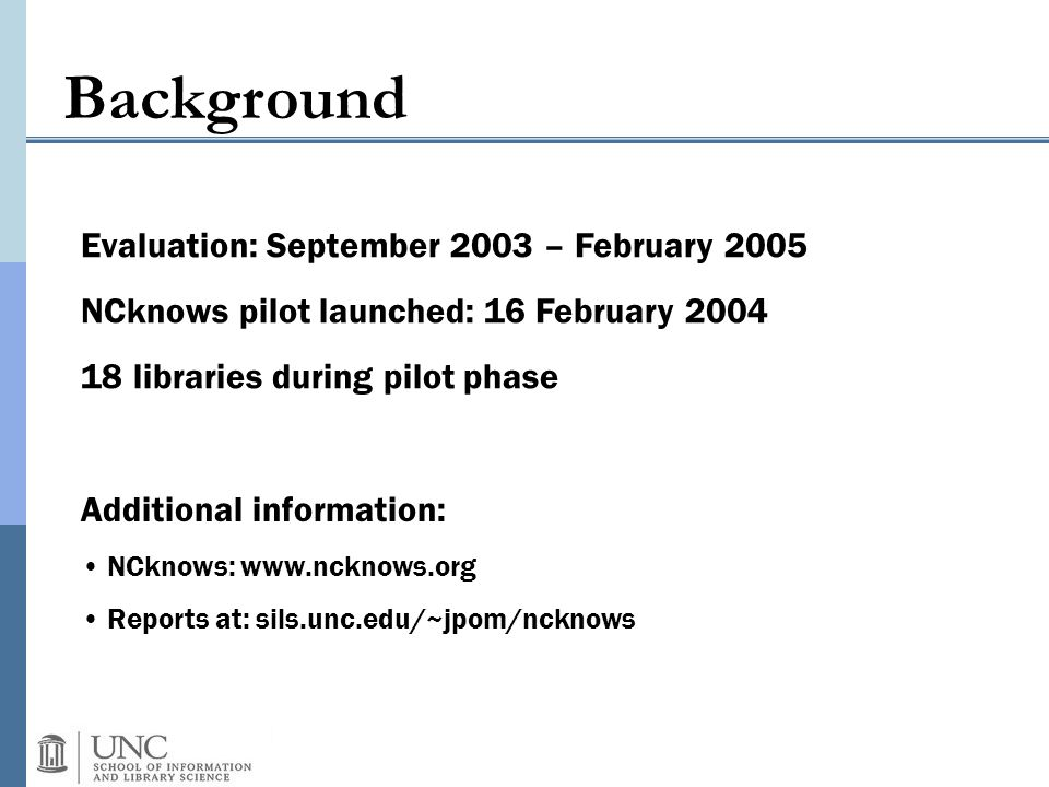Background Evaluation: September 2003 – February 2005 NCknows pilot launched: 16 February 2004 18 libraries during pilot phase Additional information:
