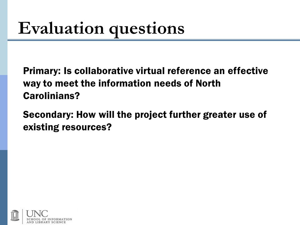 Evaluation questions Primary: Is collaborative virtual reference an effective way to meet the information needs of North Carolinians.