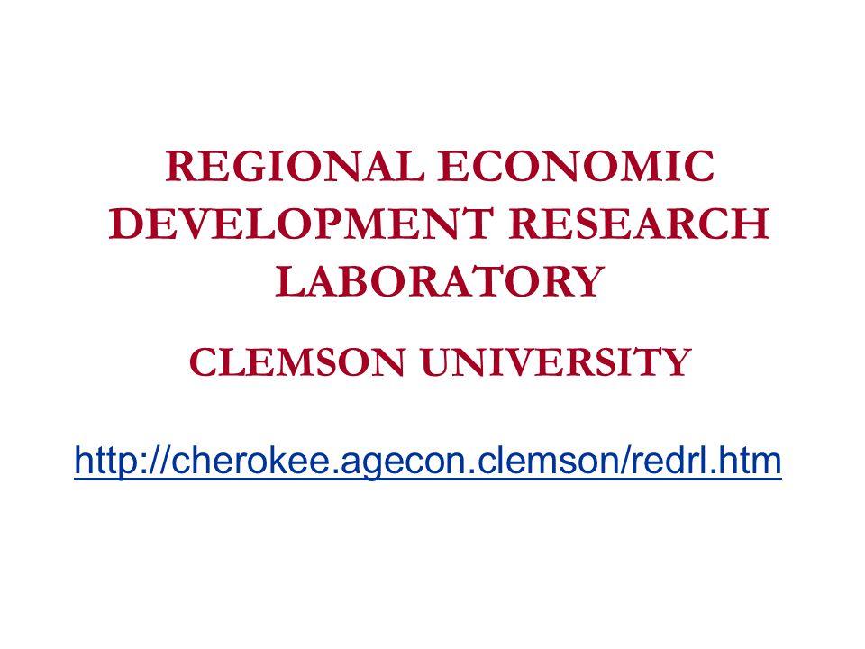 REGIONAL ECONOMIC DEVELOPMENT RESEARCH LABORATORY CLEMSON UNIVERSITY http://cherokee.agecon.clemson/redrl.htm