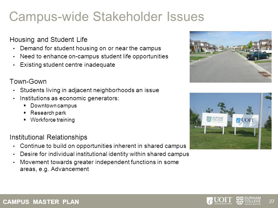 CAMPUS MASTER PLAN 27 Campus-wide Stakeholder Issues Housing and Student Life Demand for student housing on or near the campus Need to enhance on-camp