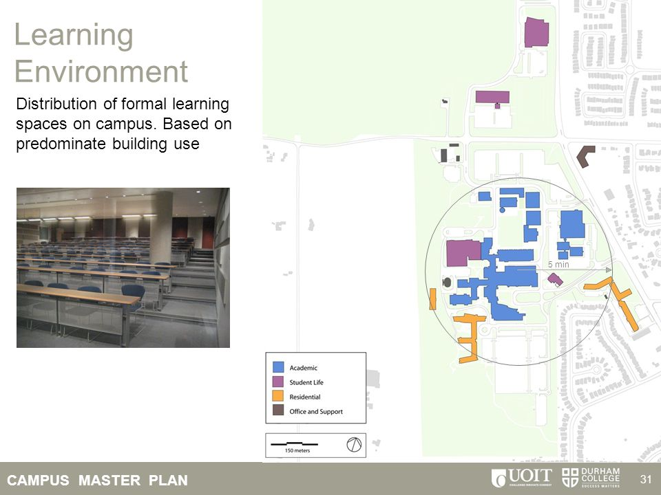 CAMPUS MASTER PLAN 31 Learning Environment Distribution of formal learning spaces on campus. Based on predominate building use 5 min