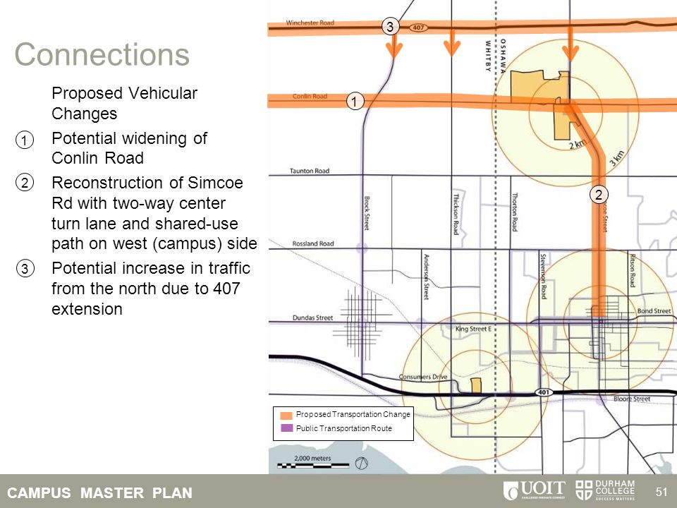 CAMPUS MASTER PLAN 51 Connections Proposed Vehicular Changes Potential widening of Conlin Road Reconstruction of Simcoe Rd with two-way center turn la