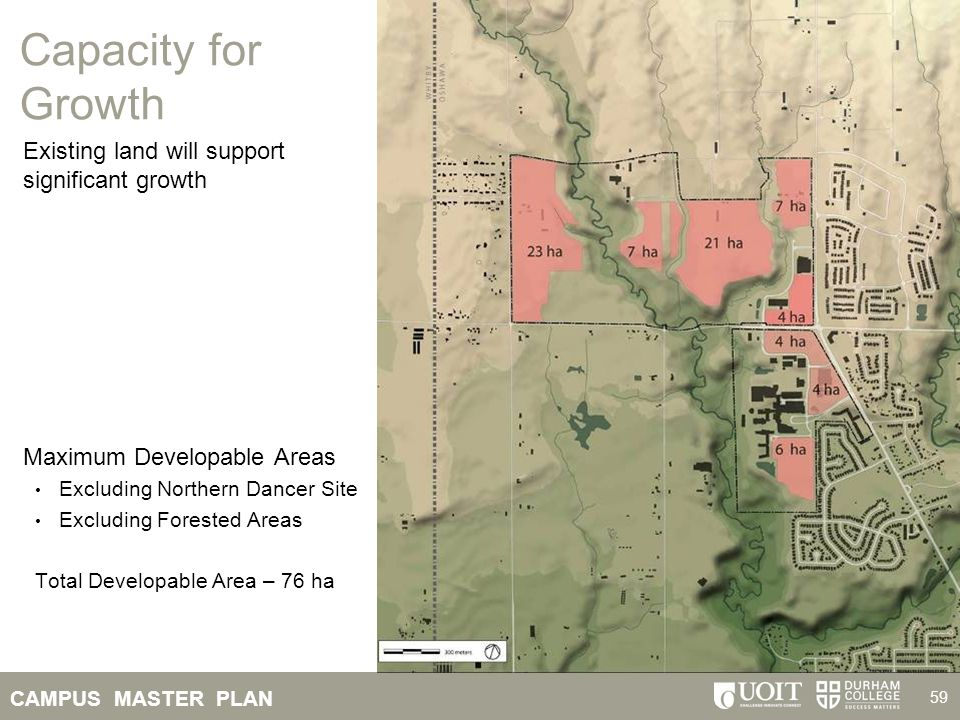 CAMPUS MASTER PLAN 59 Existing land will support significant growth Maximum Developable Areas Excluding Northern Dancer Site Excluding Forested Areas