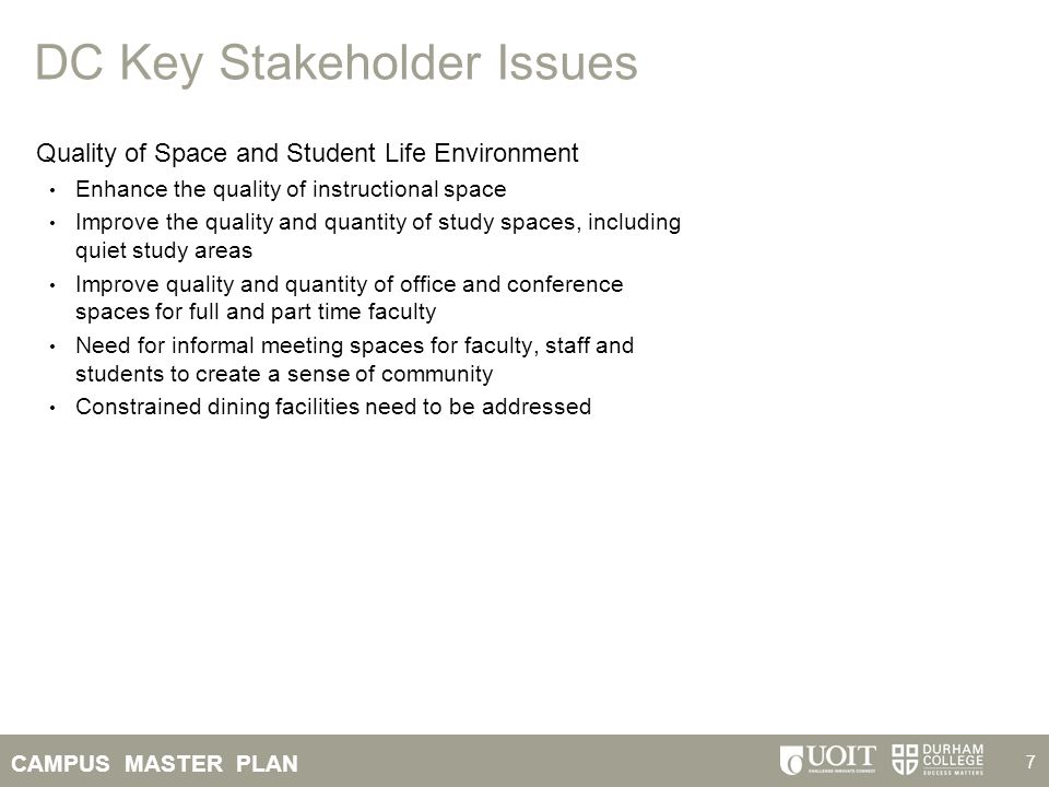 CAMPUS MASTER PLAN 28 Campus Stakeholder Issues Identified Shared Facility Priorities Expand study spaces in library (learning commons) and throughout campus Event space – auditorium, meeting rooms for career fairs, etc.