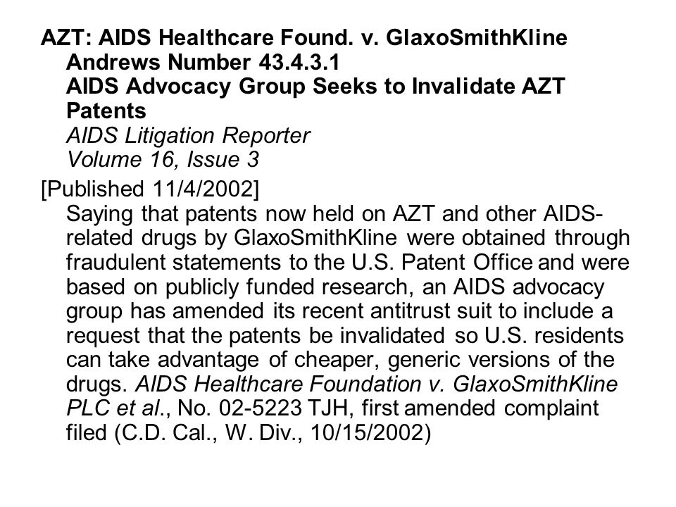 AZT: AIDS Healthcare Found. v.