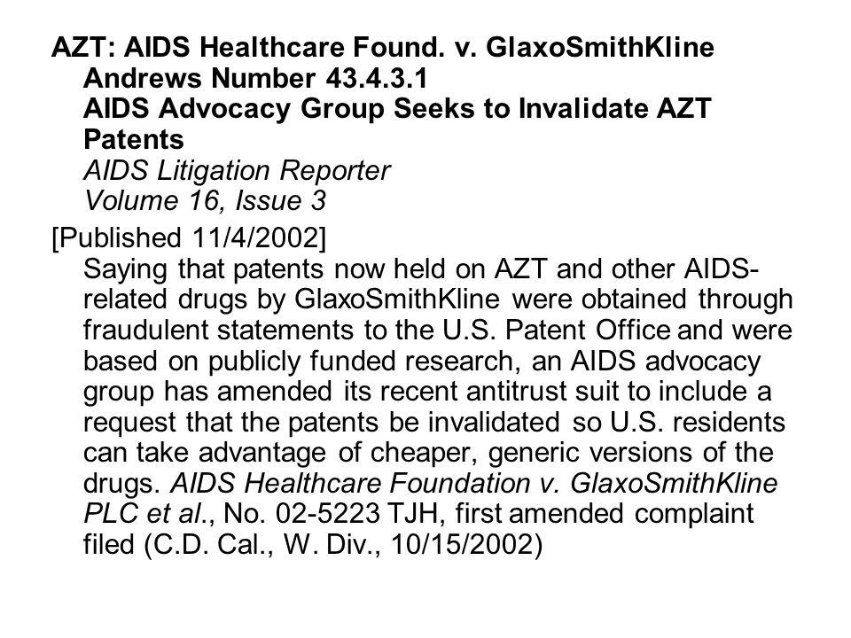 Lawsuit Challenges Patent on AZT AIDS TREATMENT NEWS No.