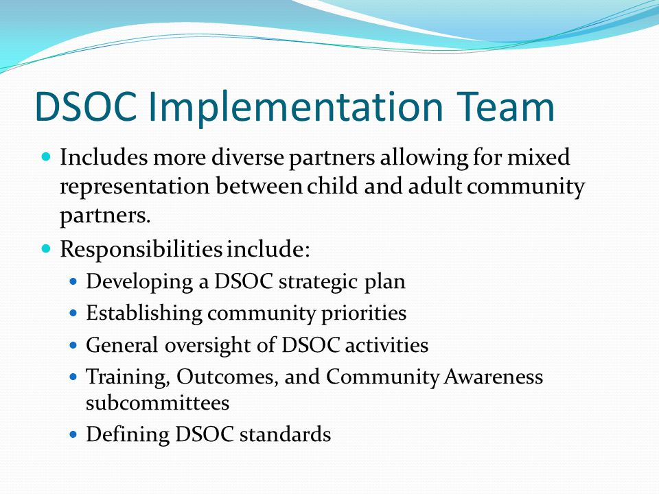 DSOC Implementation Team Includes more diverse partners allowing for mixed representation between child and adult community partners.