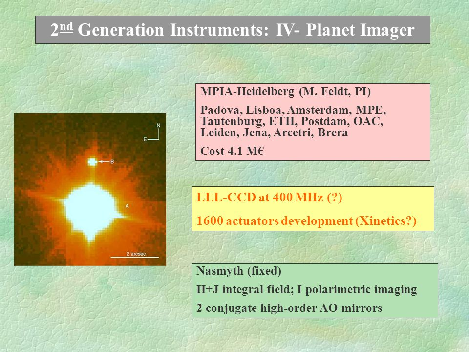 2 nd Generation Instruments: III- Fast Shooter 5,000 px STJ + Echelle Spectrograph 320 to 2400 nm;  ~ 10,000 No spatial information (upgrade ) UCL-London(M.