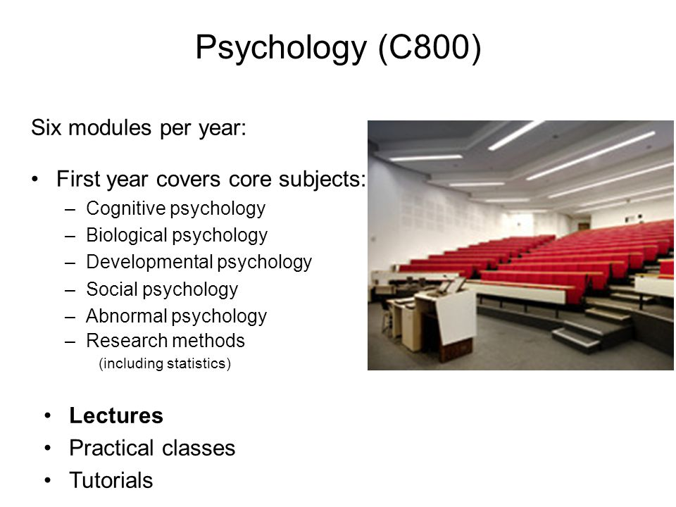Psychology (C800) Lectures Practical classes Tutorials Six modules per year: First year covers core subjects: –Cognitive psychology –Biological psychology –Developmental psychology –Social psychology –Abnormal psychology –Research methods (including statistics)