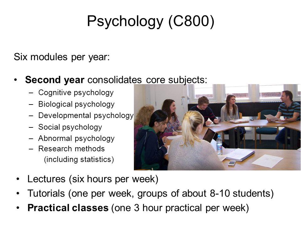 Six modules per year: Third year: dissertation Psychology (C800)