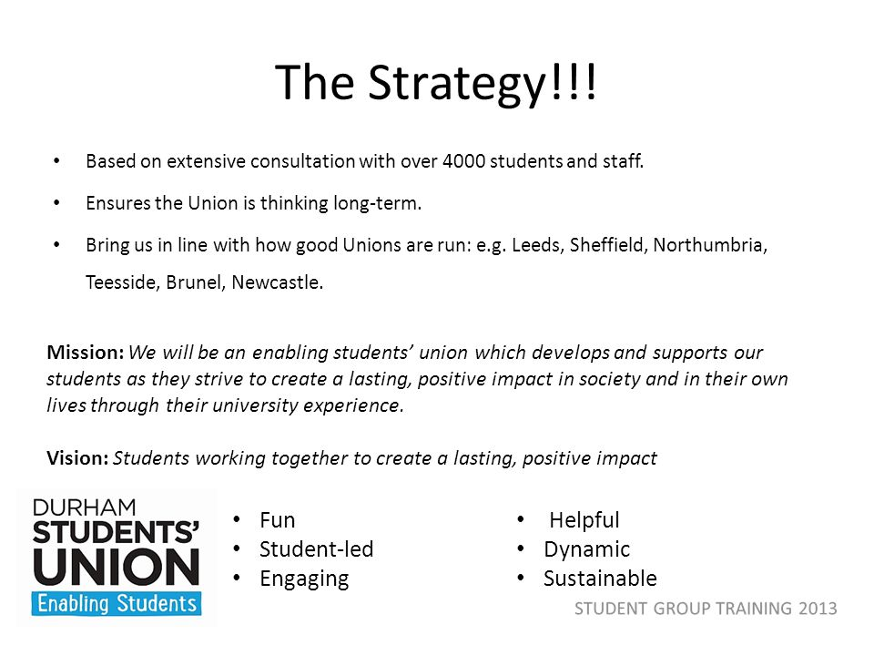 The Strategy!!! Based on extensive consultation with over 4000 students and staff. Ensures the Union is thinking long-term. Bring us in line with how
