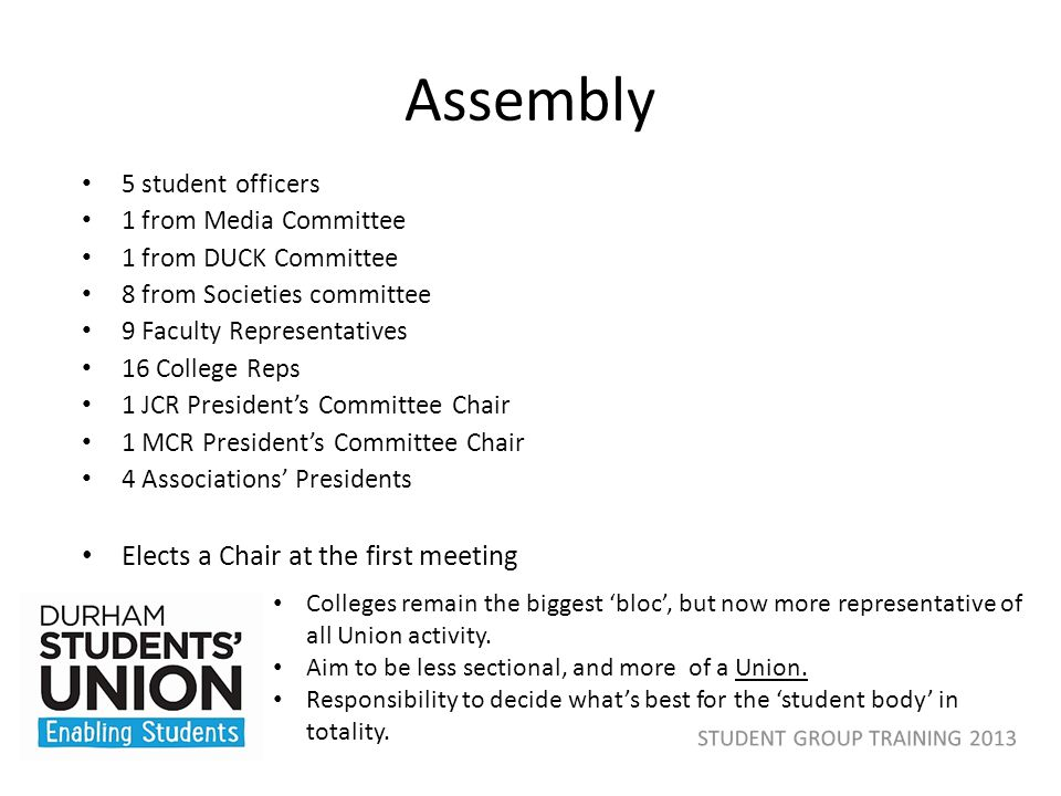 Order of precedence 1.Referendum – Campus wide-ballot 2.General Meeting – All members invited 3.Board of Trustees 4.Assembly 5.Zones – All members invited 6.Committees