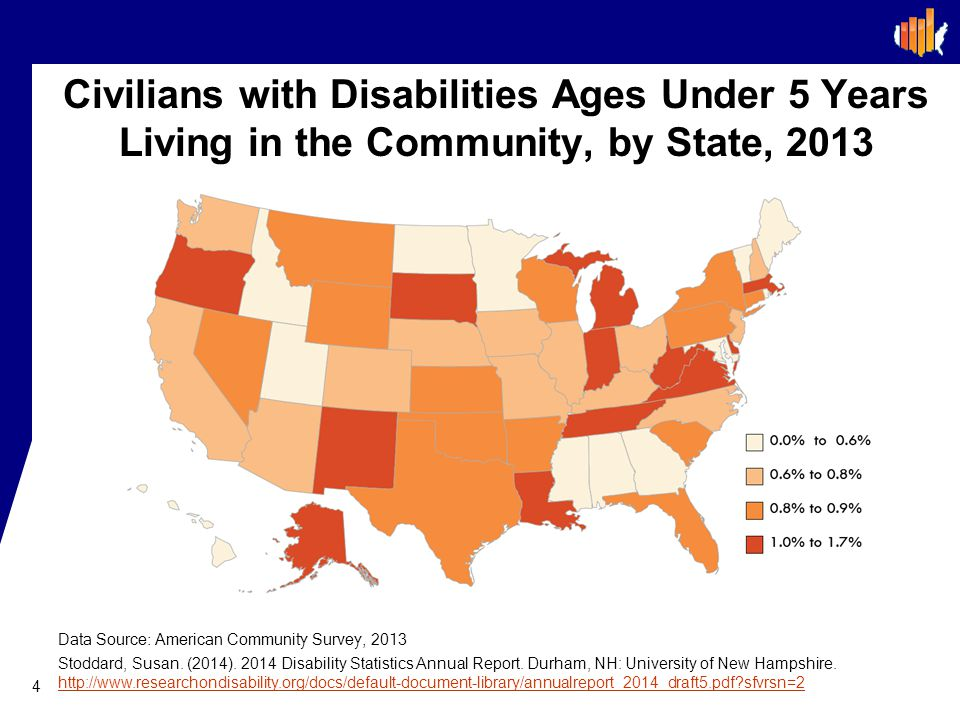 Civilians with Disabilities Ages Under 5 Years Living in the Community, by State, 2013 4 Data Source: American Community Survey, 2013 Stoddard, Susan.