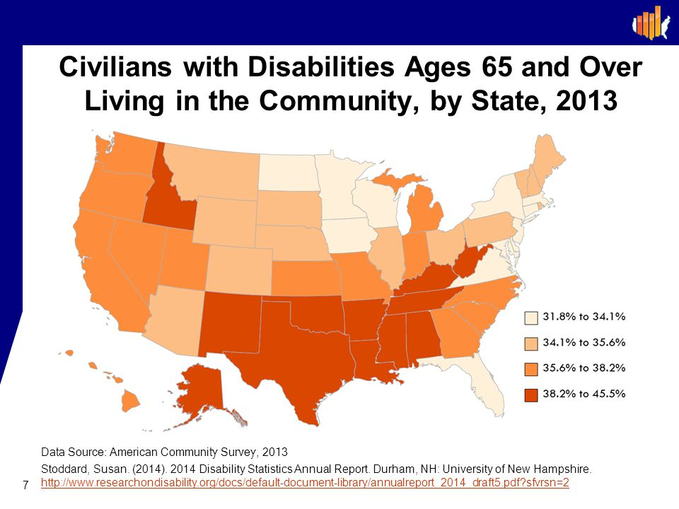 Civilians with Disabilities Ages 65 and Over Living in the Community, by State, 2013 7 Data Source: American Community Survey, 2013 Stoddard, Susan.