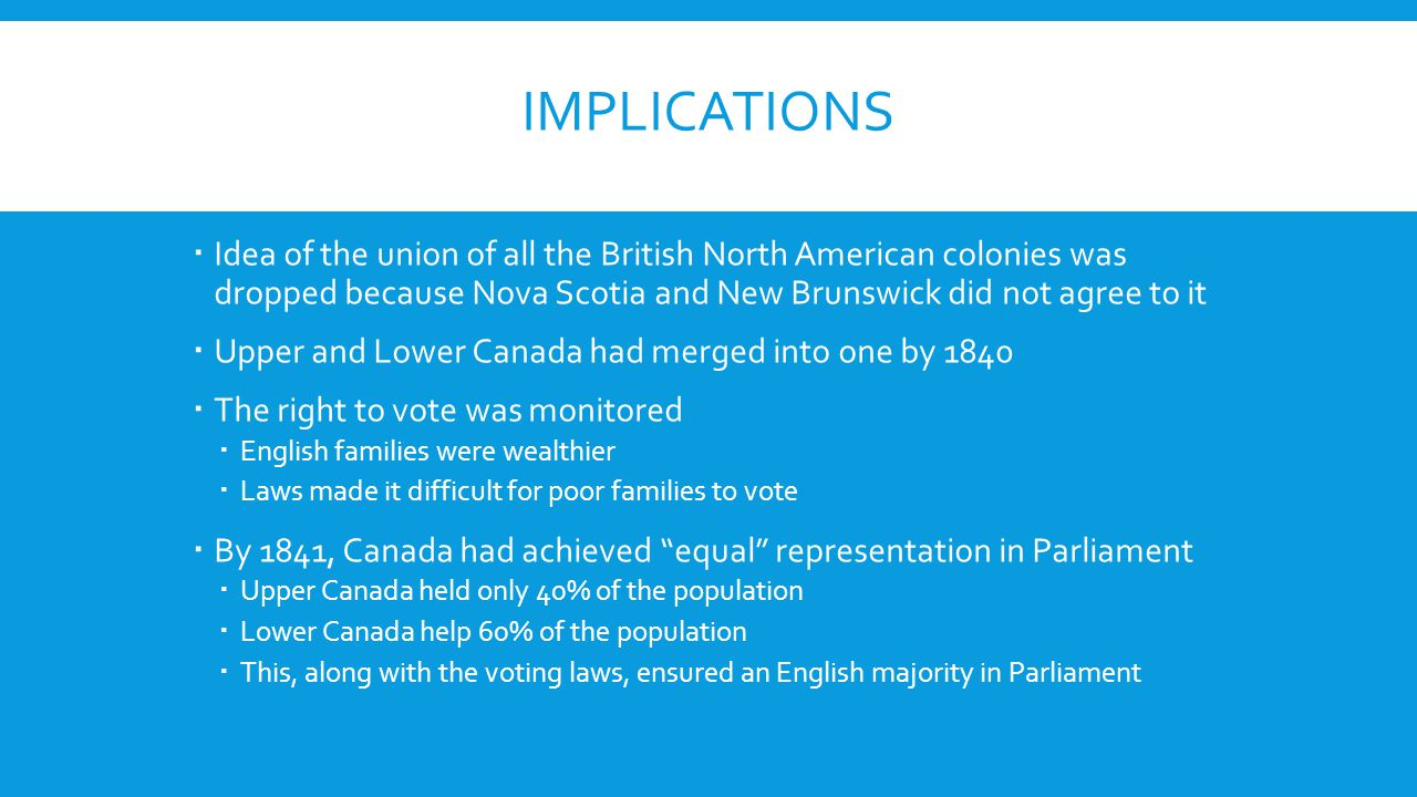 IMPLICATIONS  Idea of the union of all the British North American colonies was dropped because Nova Scotia and New Brunswick did not agree to it  Upper and Lower Canada had merged into one by 1840  The right to vote was monitored  English families were wealthier  Laws made it difficult for poor families to vote  By 1841, Canada had achieved equal representation in Parliament  Upper Canada held only 40% of the population  Lower Canada help 60% of the population  This, along with the voting laws, ensured an English majority in Parliament