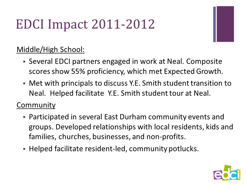 EDCI Impact 2011-2012 Middle/High School:  Several EDCI partners engaged in work at Neal.