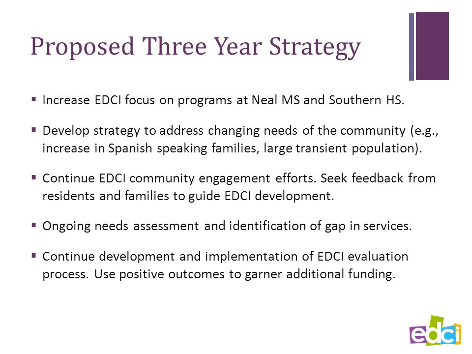 Proposed Three Year Strategy  Increase EDCI focus on programs at Neal MS and Southern HS.
