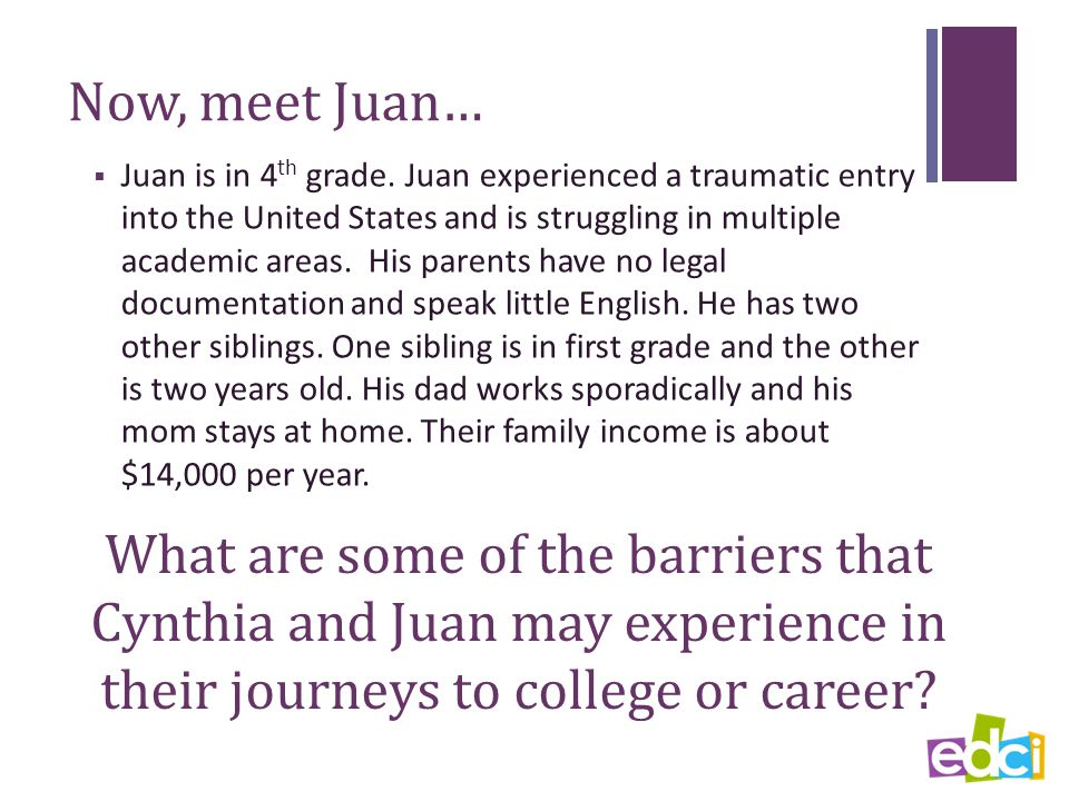 Now, meet Juan…  Juan is in 4 th grade.