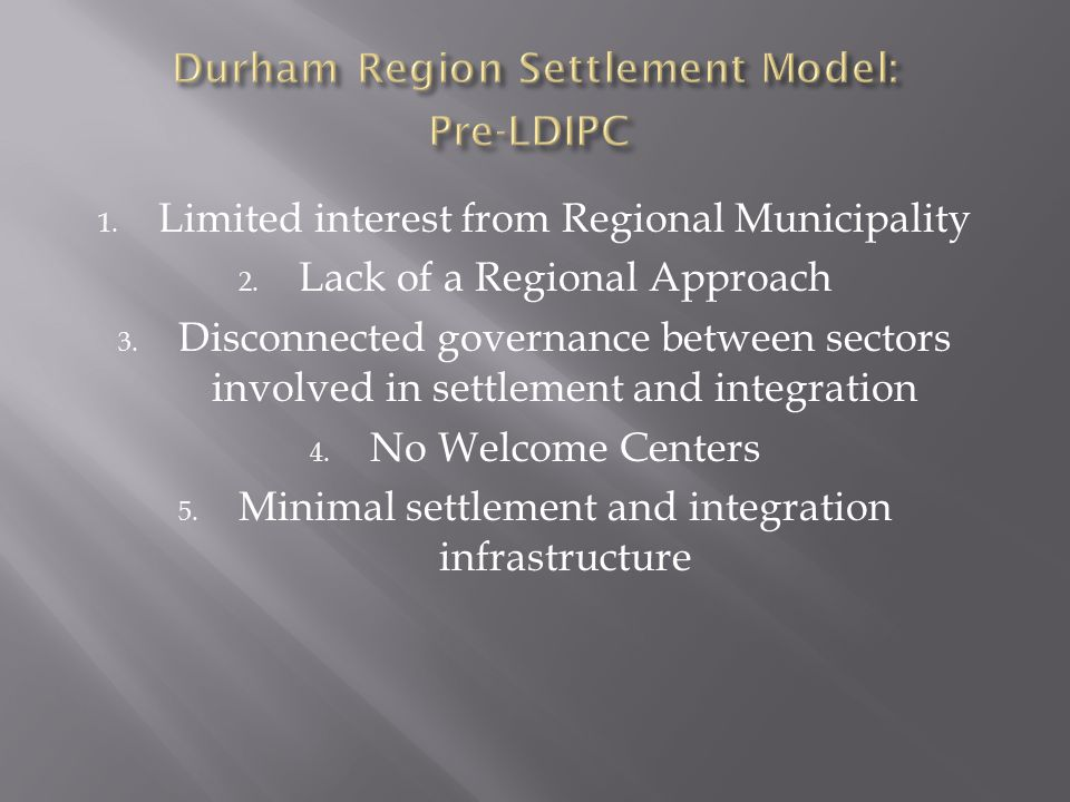 1. Limited interest from Regional Municipality 2. Lack of a Regional Approach 3. Disconnected governance between sectors involved in settlement and in