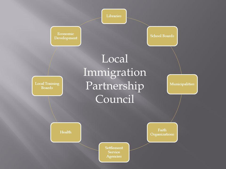 Libraries School BoardsMunicipalities Faith Organizations Settlement Service Agencies Health Local Training Boards Economic Development Local Immigration Partnership Council