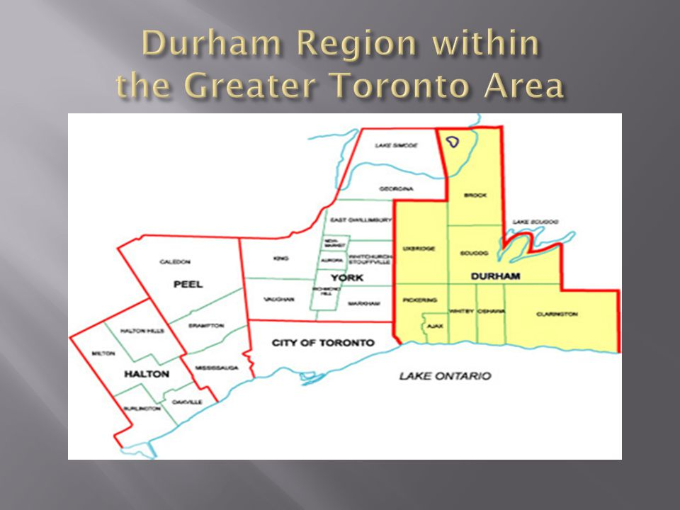 MunicipalityPopulation Durham Region608,124 Pickering88,721 Ajax109,400 Whitby122,022 Oshawa149,607 Clarington84,548 Uxbridge20,623 Scugog21,569 Brock11,341 Source: Statistics Canada 2011