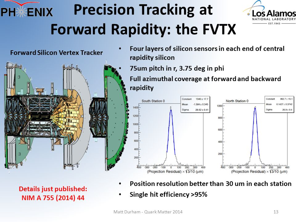 Precision Tracking at Forward Rapidity: the FVTX Matt Durham - Quark Matter 201413 Details just published: NIM A 755 (2014) 44 Forward Silicon Vertex