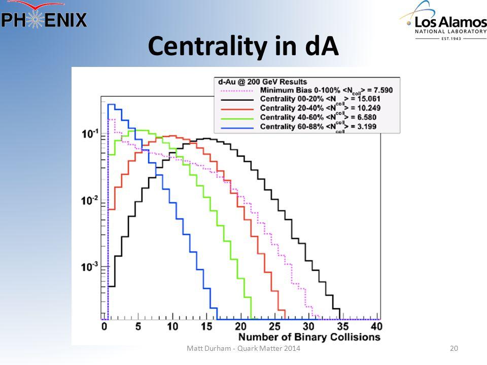 Matt Durham - Quark Matter 201420 Centrality in dA