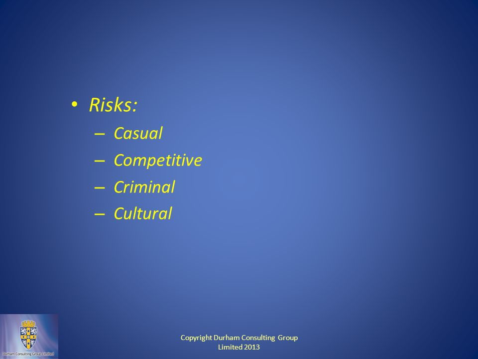 Risks: – Casual – Competitive – Criminal – Cultural Copyright Durham Consulting Group Limited 2013