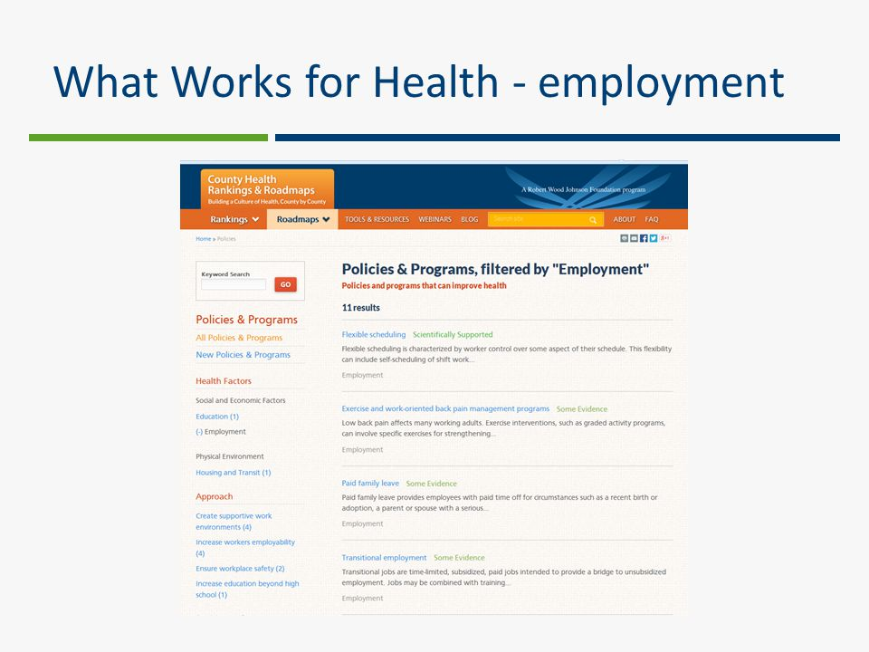 What Works for Health - employment