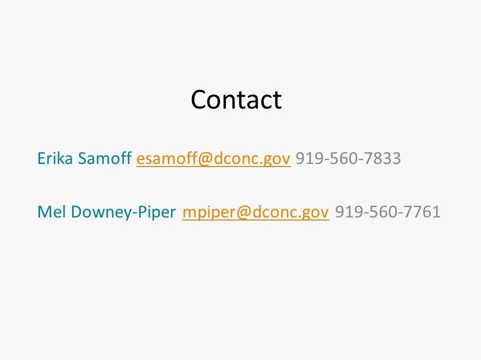 Contact Erika Samoff esamoff@dconc.gov 919-560-7833esamoff@dconc.gov Mel Downey-Piper mpiper@dconc.gov 919-560-7761mpiper@dconc.gov