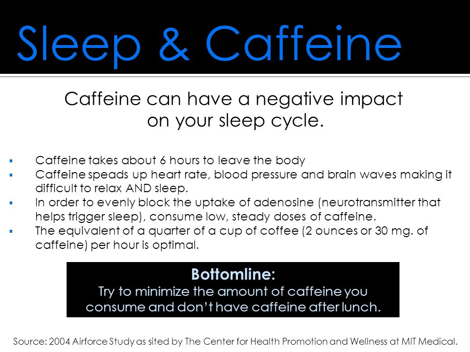 Sleep & Caffeine Caffeine can have a negative impact on your sleep cycle.  Caffeine takes about 6 hours to leave the body  Caffeine speads up heart