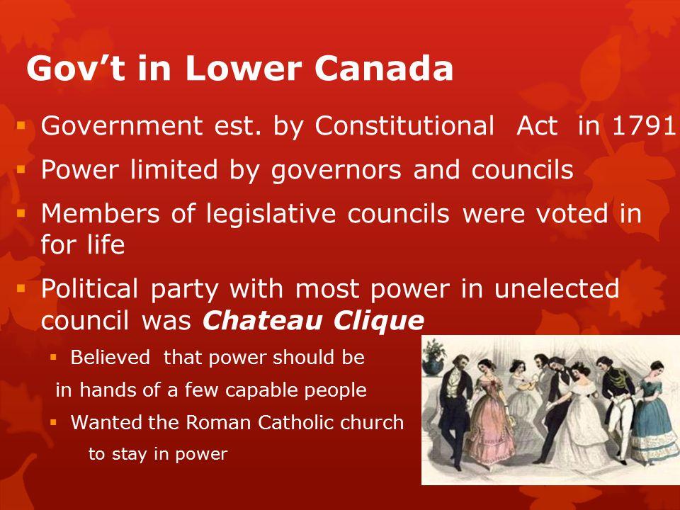 Gov't in Lower Canada  Government est.