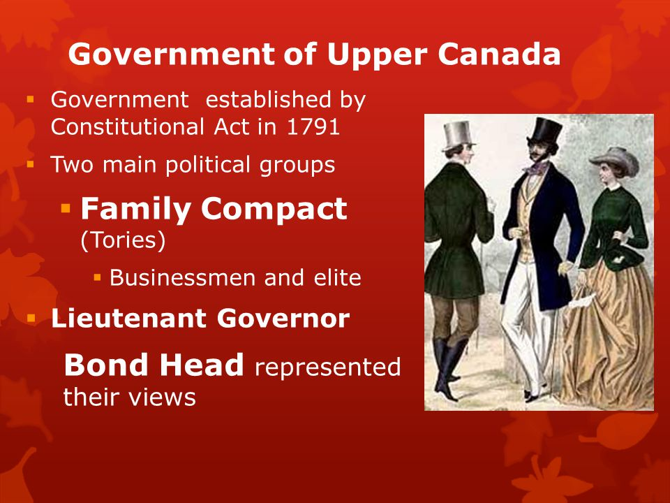 Government of Upper Canada  Government established by Constitutional Act in 1791  Two main political groups  Family Compact (Tories)  Businessmen and elite  Lieutenant Governor Bond Head represented their views