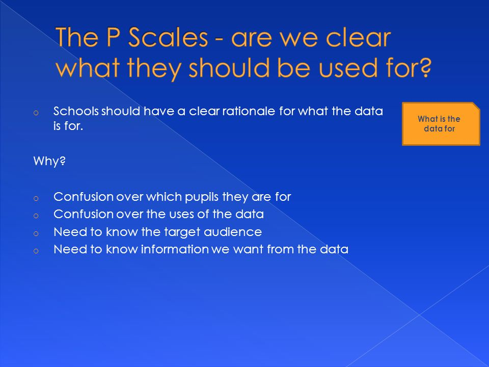 o Schools should have a clear rationale for what the data is for.