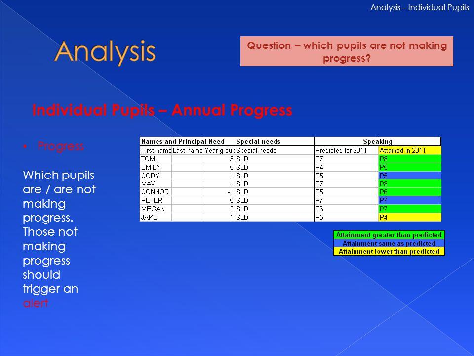 Individual Pupils – Annual Progress Analysis – Individual Pupils Progress Which pupils are / are not making progress.