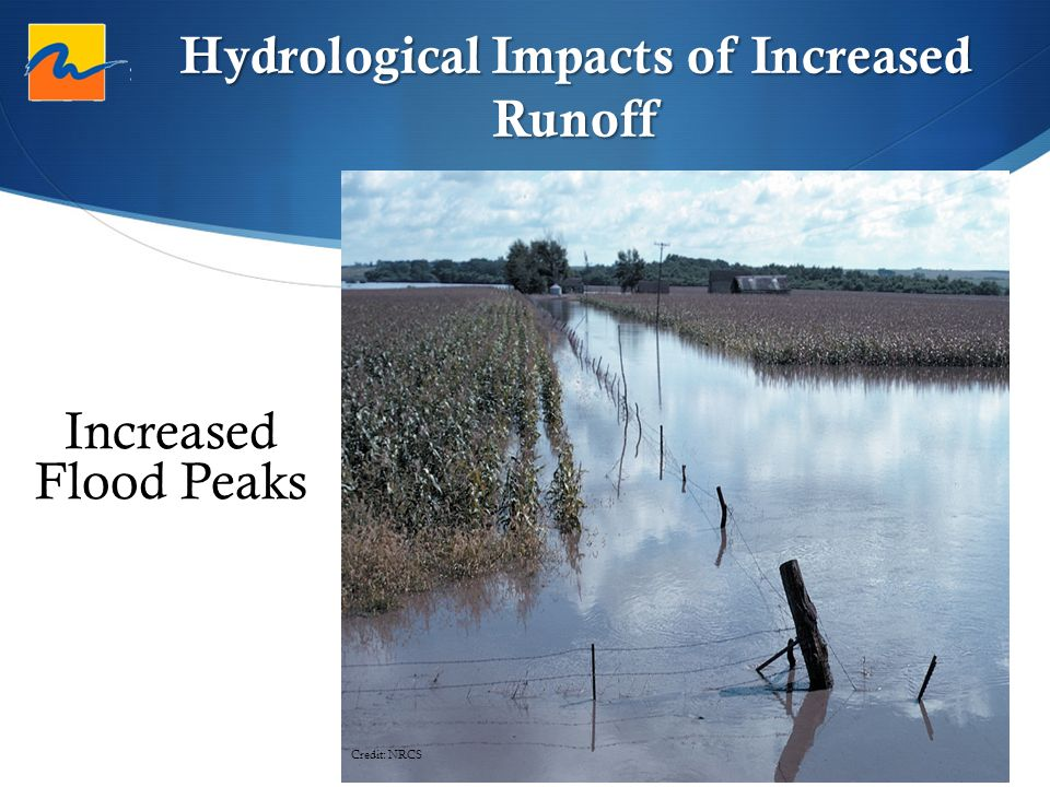 Hydrological Impacts of Increased Runoff Credit: NRCS Increased Flood Peaks
