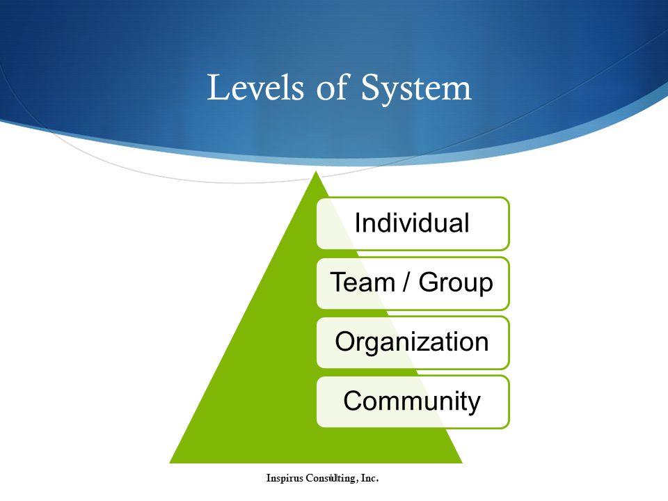 Levels of System Inspirus Consulting, Inc.11 IndividualTeam / GroupOrganizationCommunity