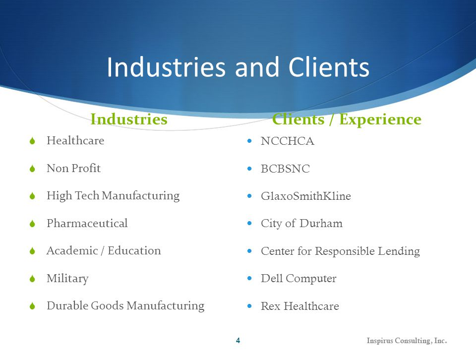 Industries and Clients Industries Clients / Experience  Healthcare  Non Profit  High Tech Manufacturing  Pharmaceutical  Academic / Education  Military  Durable Goods Manufacturing NCCHCA BCBSNC GlaxoSmithKline City of Durham Center for Responsible Lending Dell Computer Rex Healthcare Inspirus Consulting, Inc.