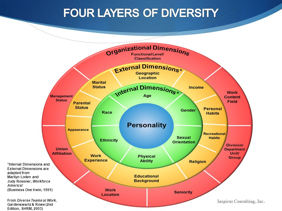* Internal Dimensions and External Dimensions are adapted from Marilyn Loden and Judy Rosener, Workforce America.