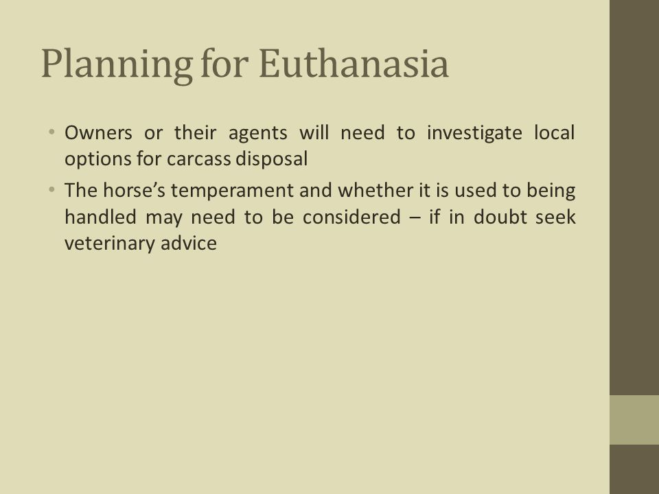 Planning for Euthanasia Owners or their agents will need to investigate local options for carcass disposal The horse's temperament and whether it is u