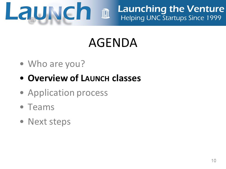 10 AGENDA Who are you? Overview of L AUNCH classes Application process Teams Next steps