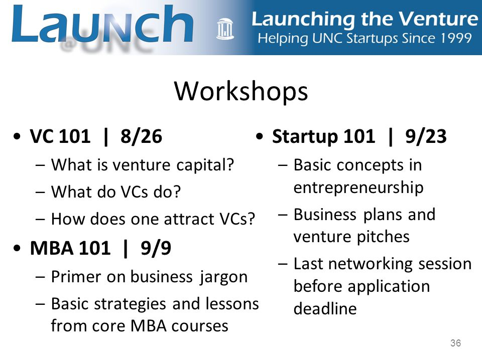 36 Workshops VC 101 | 8/26 –What is venture capital.