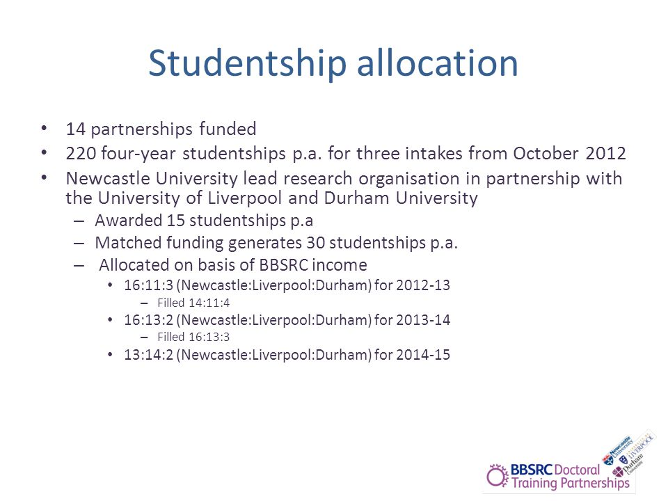 Studentship allocation 14 partnerships funded 220 four-year studentships p.a.