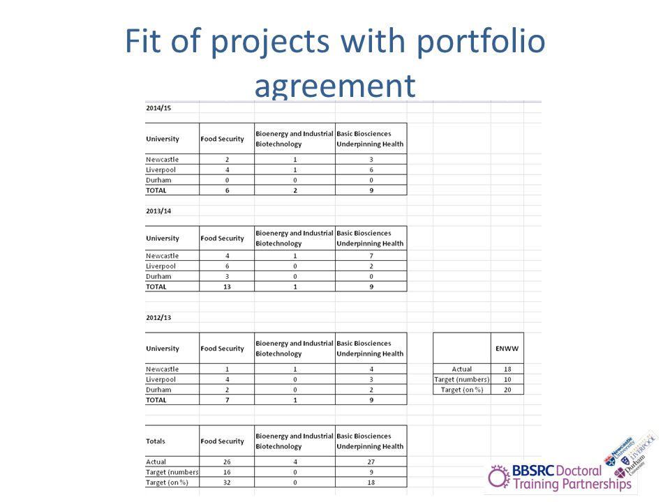 Fit of projects with portfolio agreement