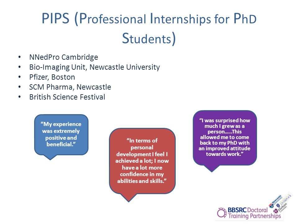 PIPS (P rofessional I nternships for P hD S tudents ) NNedPro Cambridge Bio-Imaging Unit, Newcastle University Pfizer, Boston SCM Pharma, Newcastle British Science Festival My experience was extremely positive and beneficial. In terms of personal development I feel I achieved a lot; I now have a lot more confidence in my abilities and skills. I was surprised how much I grew as a person…..This allowed me to come back to my PhD with an improved attitude towards work.