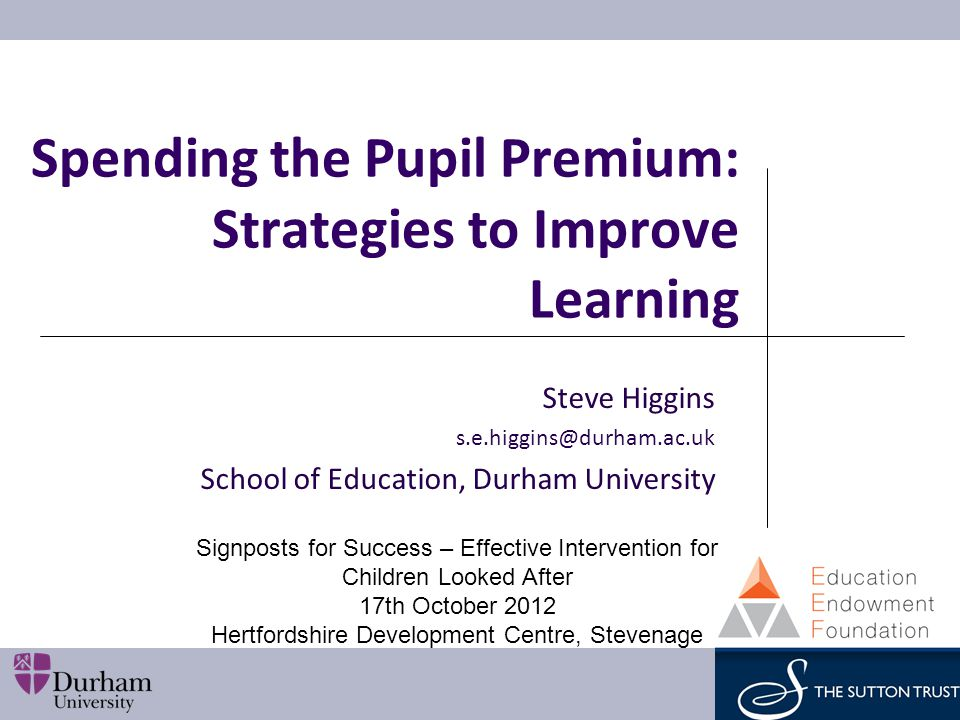 Sutton Trust Report on Spending the Pupil Premium: Toolkit of Strategies to Improve Learning Why we wrote it Best 'buys' Worst 'buys' Learning How might we use it.