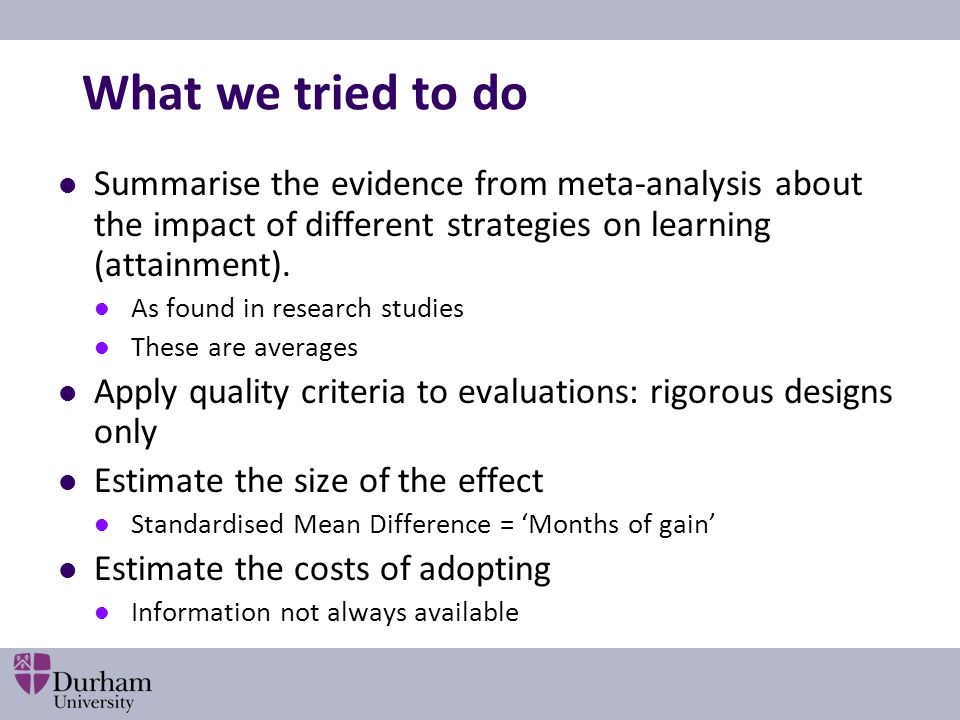 What we tried to do Summarise the evidence from meta-analysis about the impact of different strategies on learning (attainment). As found in research